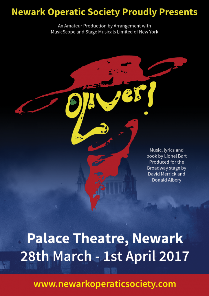 Poster for the Newark Amateur Operatic Society production of Oliver! in 2017.