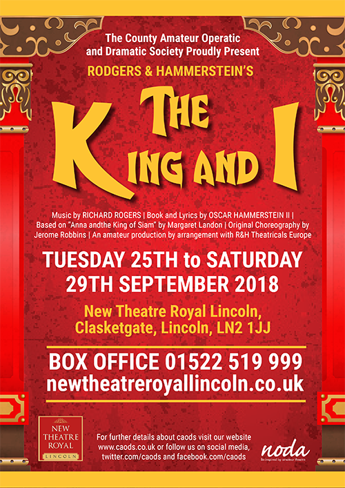 A poster for the CAODS Lincoln production of The King and I in 2018.