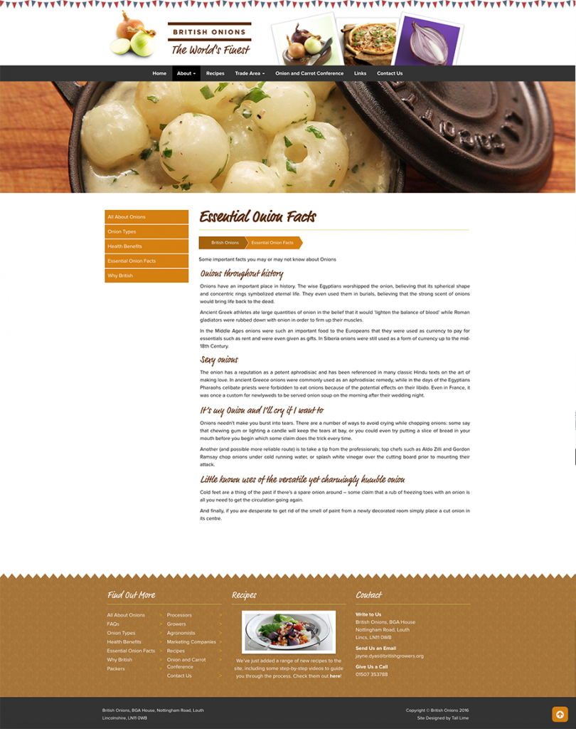 A screenshot showing the about page of the British Onions website, which Ben designed for the British Growers Association.