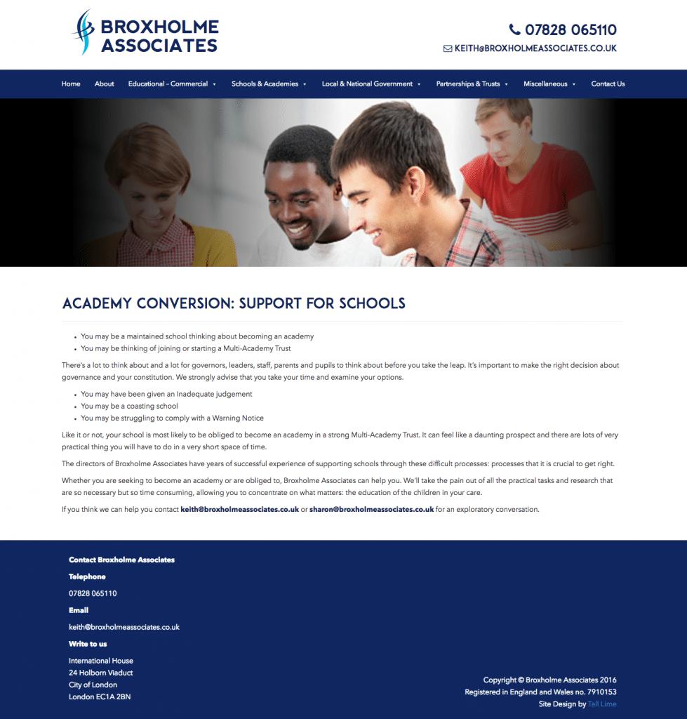 A screenshot showing the Broxholme Associates website homepage.
