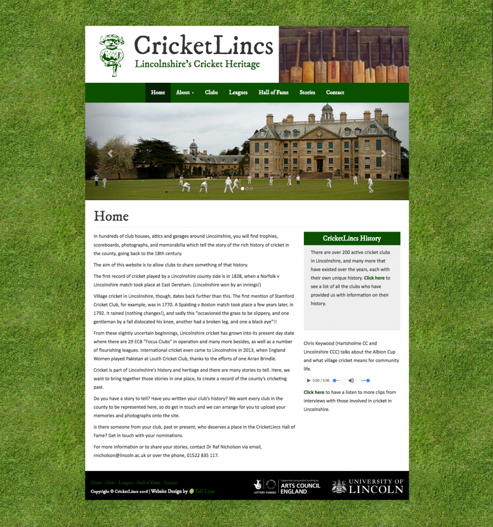A screenshot showing the home page of the CricketLinks website.