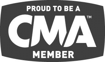 A grey version of the Country Music Association of America logo.