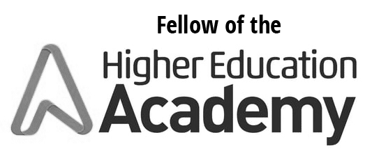 A grey version of the Higher Education Academy Fellow logo.