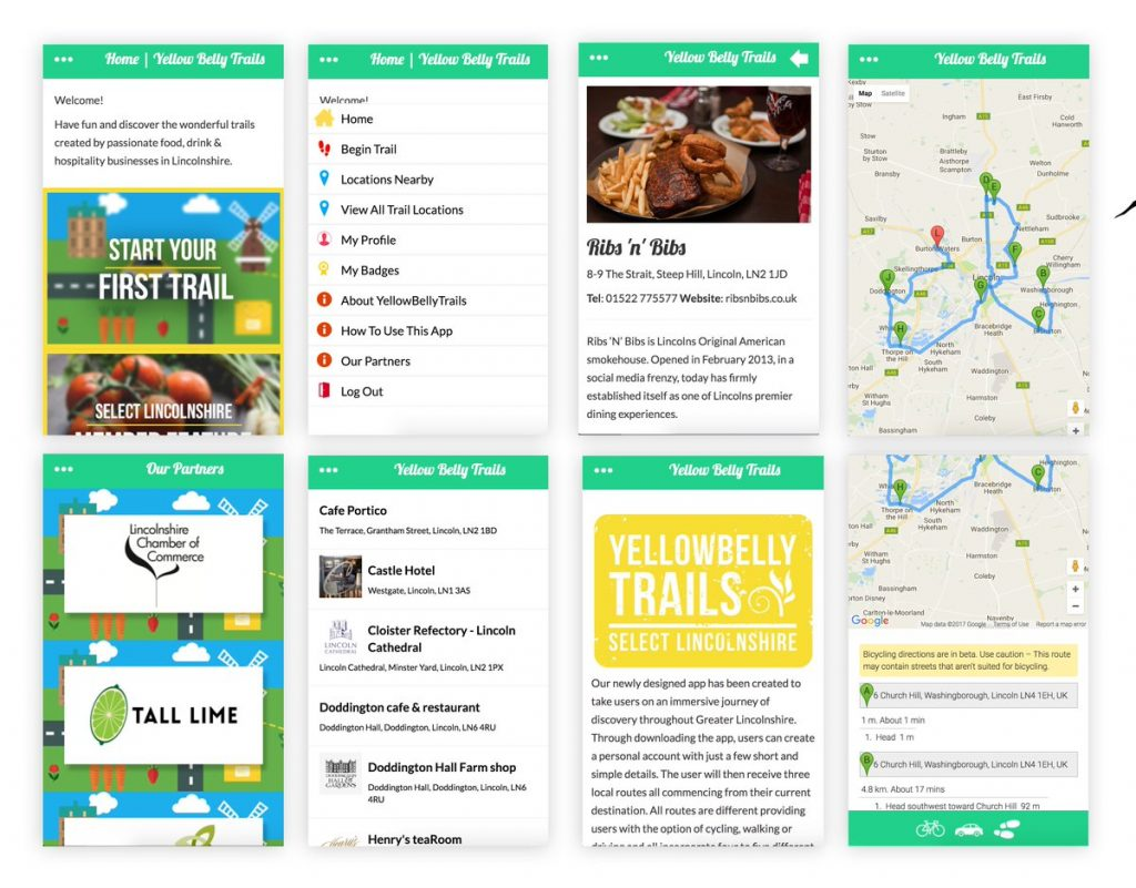 A series of screenshots showing different pages within the Yellow Belly Trails app, which was designed for the Lincolnshire Chamber of Commerce.
