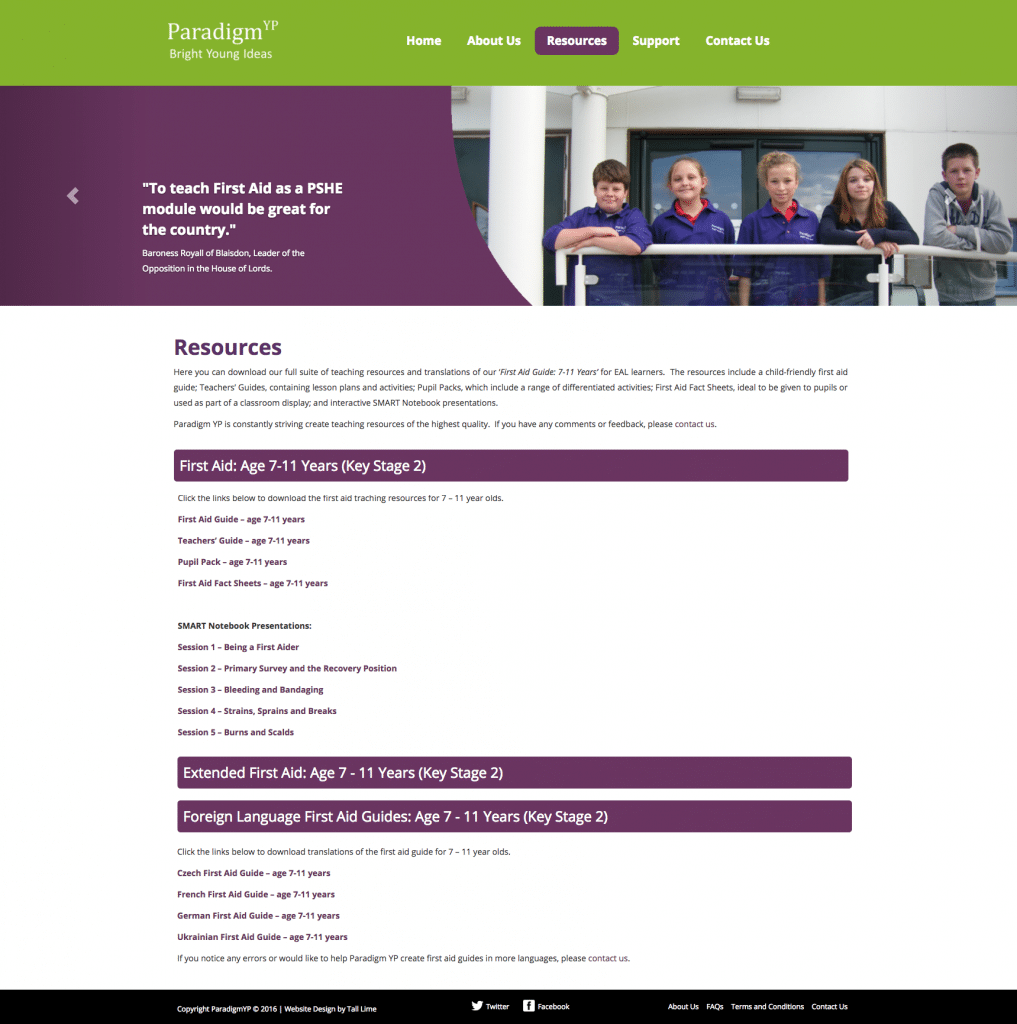 The resources page of the ParadigmYP website which was designed to support the campaign to teach first aid to primary school children in the UK.