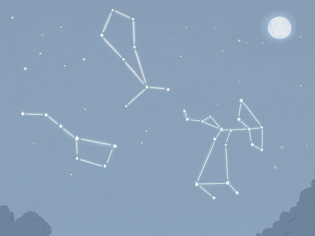 A still image from the radio drama Charlie and the Moon, showing various constellations of stars in the nights sky.