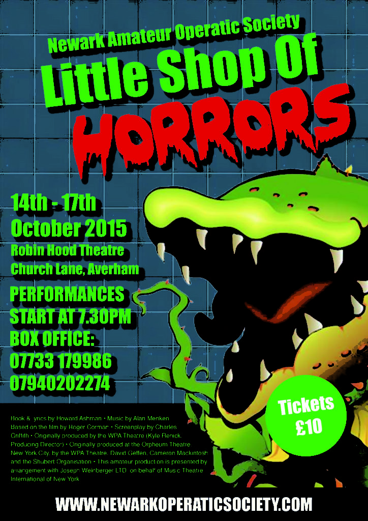 Poster for the Newark Operatic production of Little Shop of Horrors. The plant, Audrey II is seen jumping out from the page.
