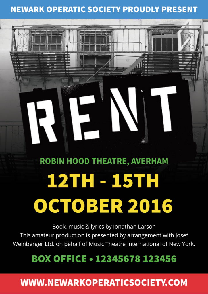Poster for the Newark Operatic production of Rent, colourful poster design featuring New York city scene in the background.