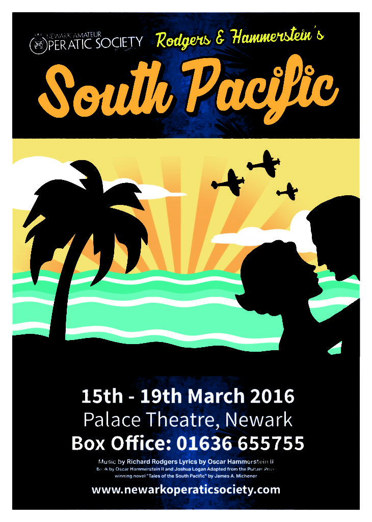 Poster for the Newark Operatic production of South Pacific. Yellow sky with planes flying over, blue waves and a couple in silhouette.
