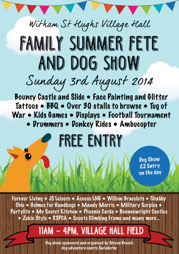 Colourful poster created for the Witham St Hughs village fete. Featuring a dog, grass and bunting.