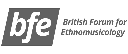 A grey version of the British Forum for Ethnomuiscology logo.