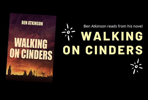 A slide showing the Walking on CInders cover, and promoting online reading.